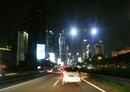 Jakarta's highway in the night