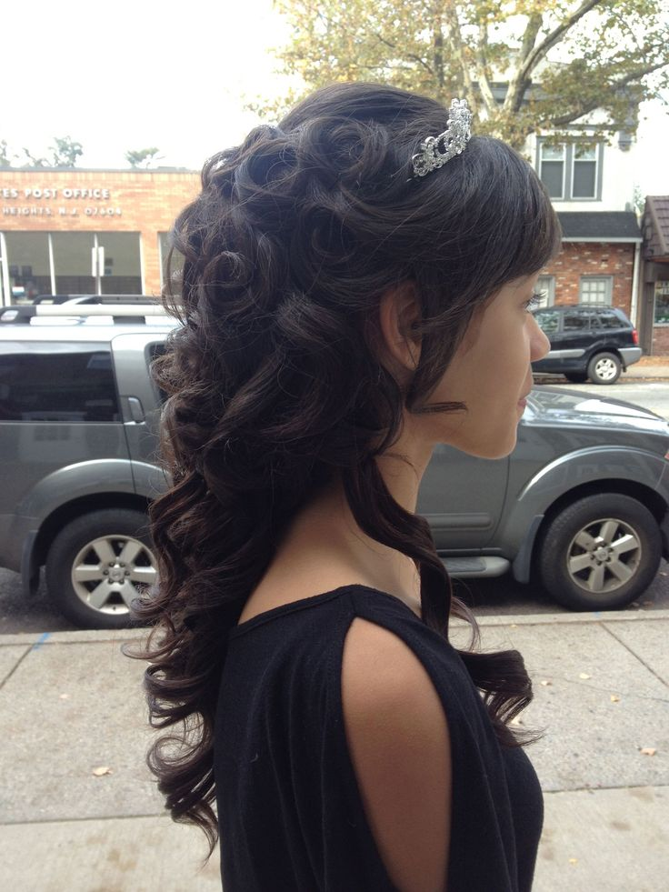 Tiara finishes off this lovely formal hairstyle for wedding, prom, homecoming, quinceanera, etc.