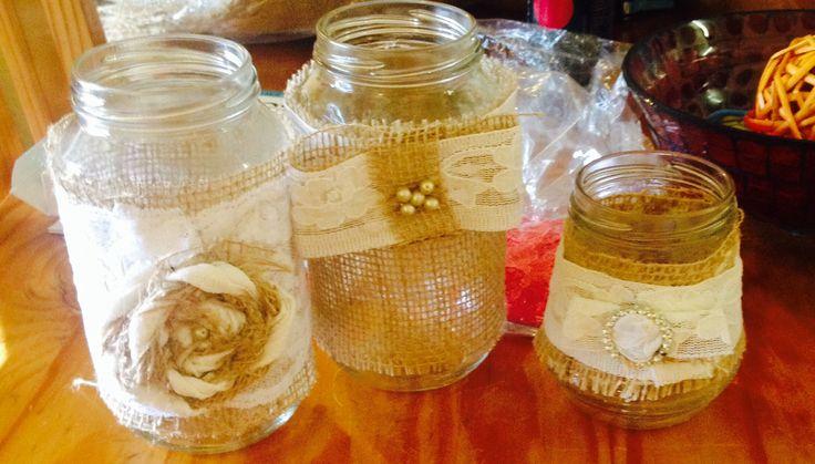 Hessian and lace handmade candle jars