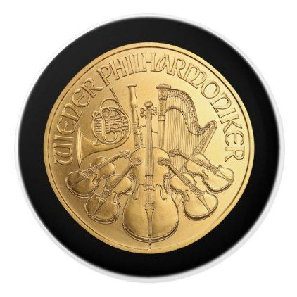 Austrian Gold Coin  Vienna Philharmonics 2017   Ceramic Knob - gold gifts golden customize diy
