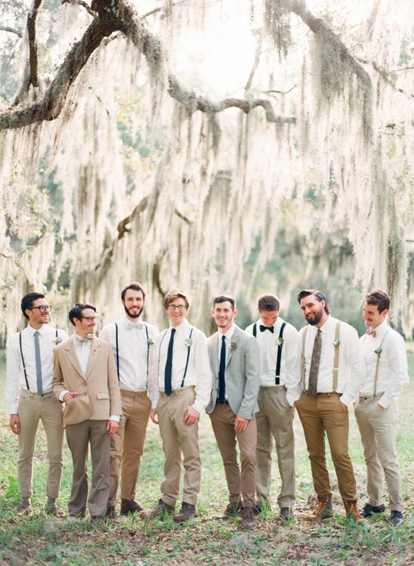 Groomsmen with SUSPENDERS - Intimate St Augustine Wedding captured by Shipra Panosian - via ruffled