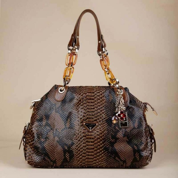 Top Zip Closure Tote Handbag With Snake Print - Handbags - handbag shop