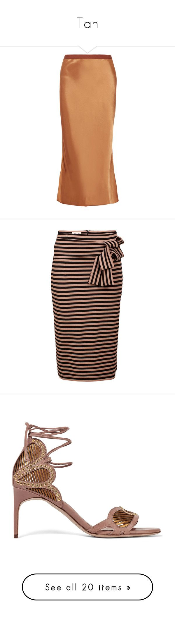 """""""Tan"""" by kikikoji ❤ liked on Polyvore featuring skirts, copper, helmut lang, satin midi skirt, beige skirt, midi skirt, pull on skirts, stripe, striped skirts and knee length pencil skirt"""