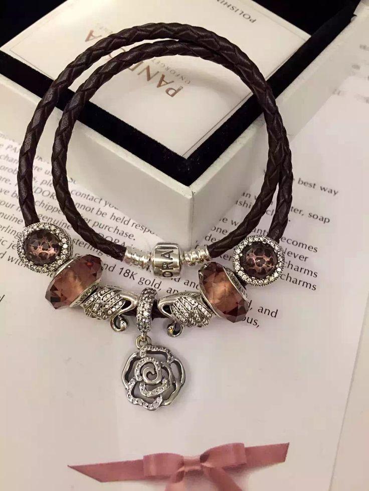 50% OFF!!! $199 Pandora Leather Charm Bracelet Pink Brown. Hot Sale!!! SKU: CB01836 - PANDORA Bracelet Ideas