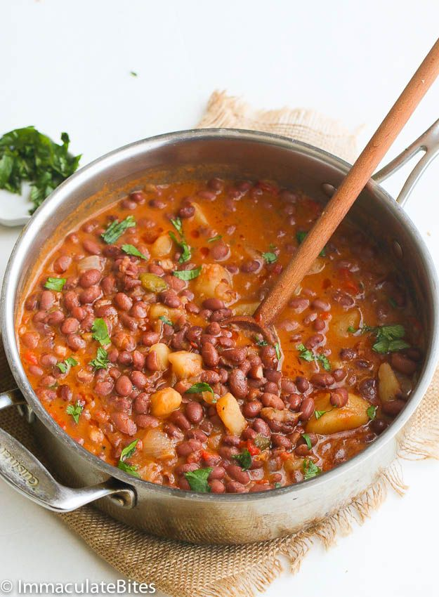 Puerto Rican Style Beans - If you like a an easy yet tasty meat free beans then, you might think this Puerto Rican Beans is about the most delicious beans to cook up. It's a hearty stew of red beans, simmered in tomatoes, onions, garlic, bell pepper spices and chunks of potatoes until all the flavors fuse together beautifully......