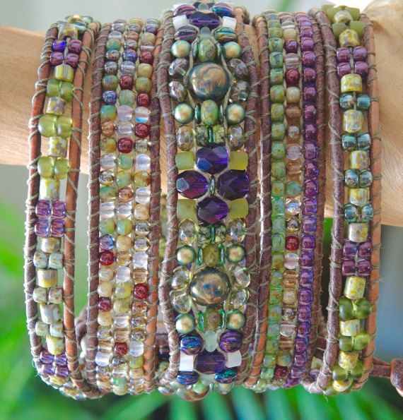 NAPA  5 Wrap Natural Gray Leather Bracelet with Italian Glass Beads, Olive Jade, Picasso Czech Tiles & Druks and Silver Pewter Concho Button