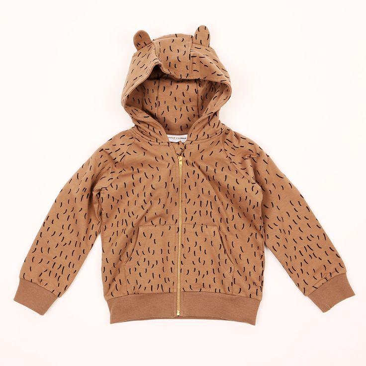 Brązowa bluza z kapturem z uszami niedźwiadka. Mini Rodini