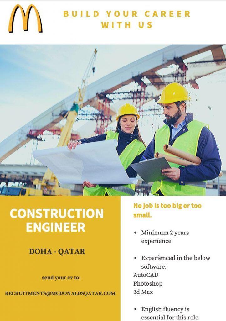 Construction Engineer Qatar Openings Engineering Construction Qatar