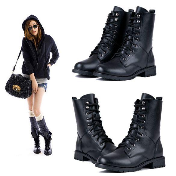 Cavaleiro Lace-up legal Exército Feminina Militar Preto PUNK botas curtas Shoes