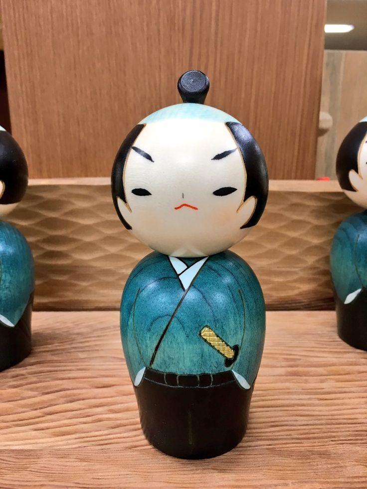 Samourai kokeshi - a creative wooden doll from Japan.
