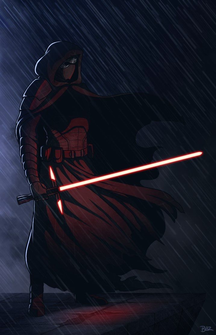 Kylo Ren By Blazbaros Digitalart Drawingspaintings Scifi Brooding Dark Jedi Lightsaber Rain Sith Starwars Bintang Gambar Animasi