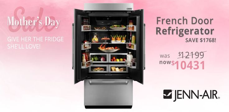 Get your mum the refrigerator she'll love this Mother's Day! Save $1768 on this Jenn-Air french door #refrigerator. http://ow.ly/u11s30bBA6l