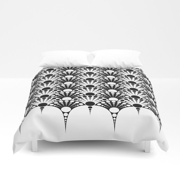 Black And White Art Deco Inspired Fan Pattern Duvet Cover By