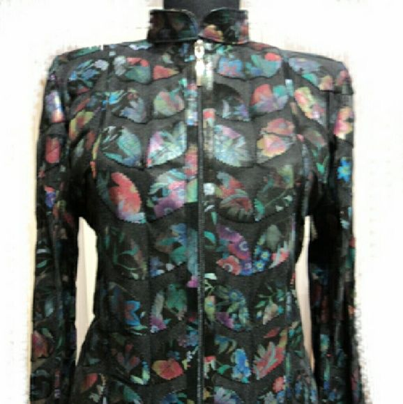 Flower Pattern Black Leather Leaf Jacket for Women Handmade Stylish Very Soft Genuine Lambskin Leather Leaf Jackets for Women / Ladies.  Just 140 USD! All Regular and Plus Sizes ( S - M - L - 1XL - 2XL - 3XL - 4XL - 5XL - 6XL - 7XL - 8XL - 9XL - 10XL ) and All Colours are Available! In Black White Red Navy Blue Orange Yellow Green Brown Purple ... 100% Made in Turkey! Returnable and Free Worldwide Shipping by Fedex! handmade  Jackets & Coats