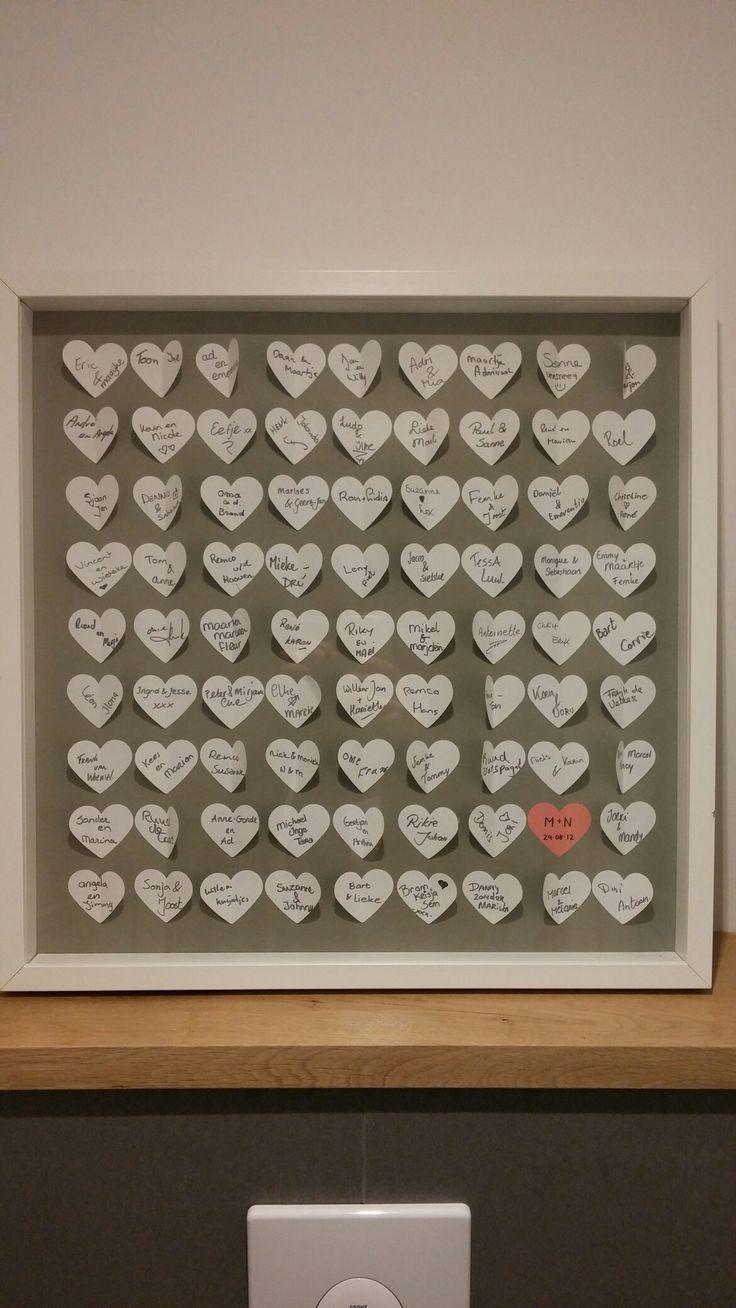 het gastenboek of schilderij van mijn bruiloft. schilderij was van ikea en de hartjes met een speciale perforator uitgeknipt.