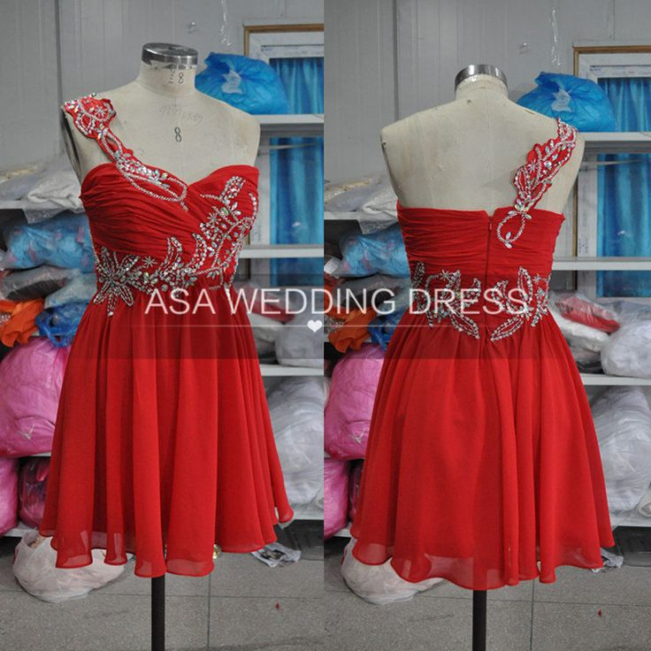 Pretty Red Homecoming Dresses 2016 Crystal Beads Pleats One Shoulder Graduation Dresses Chiffon cute-dresses-cheap