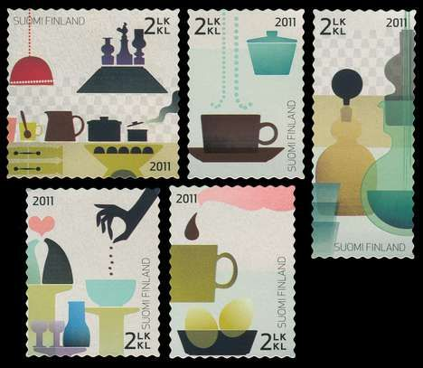 """""""Happy kitchen"""" Finnish stamps. Congratulation Kaj Franck. Well done, 100 years and your design is still rocking!"""