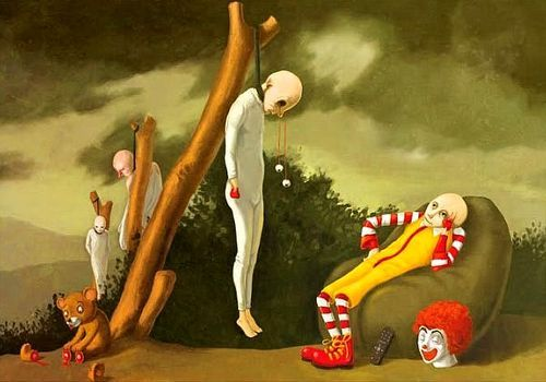 all in a day's work... - (ronald mcdonald)(relaxing)(death)(customers)(fast food nation)(painting)