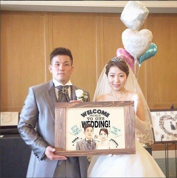 【大人気!】*結婚式似顔絵ウェルカムボード*ヴィンテージ【A3サイズ】