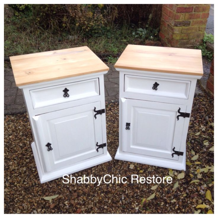 Large bedside tables Lamp tables Mexican pine Painted in farrow and ball all white Waxes to finish