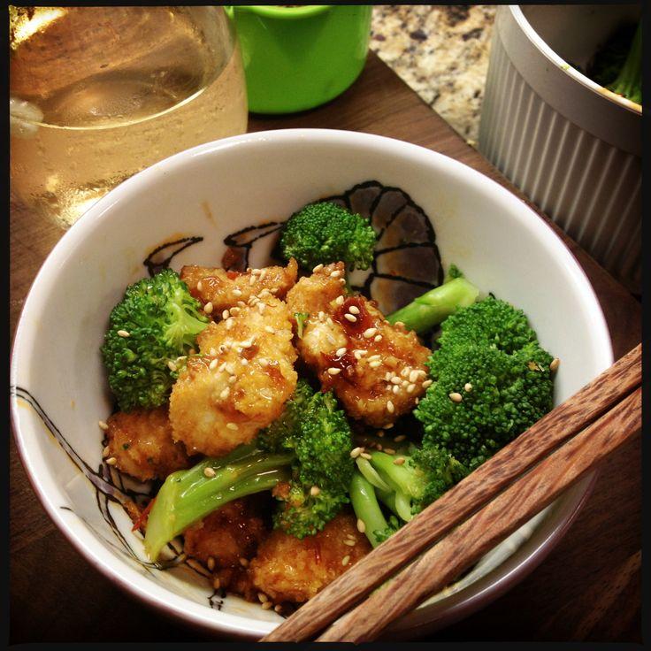 """(Almost) General tso's Chicken....a la Rocco Di Spirito's """"Now Eat This."""" Super tasty and filling ."""