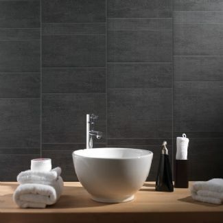 Swish Marbrex Anthracite Standard Tile Effect PVC Bathroom Cladding Shower Wall Panels W375mm x H2600mm Pack of 3 Wet Wall Panels 8mm Thick