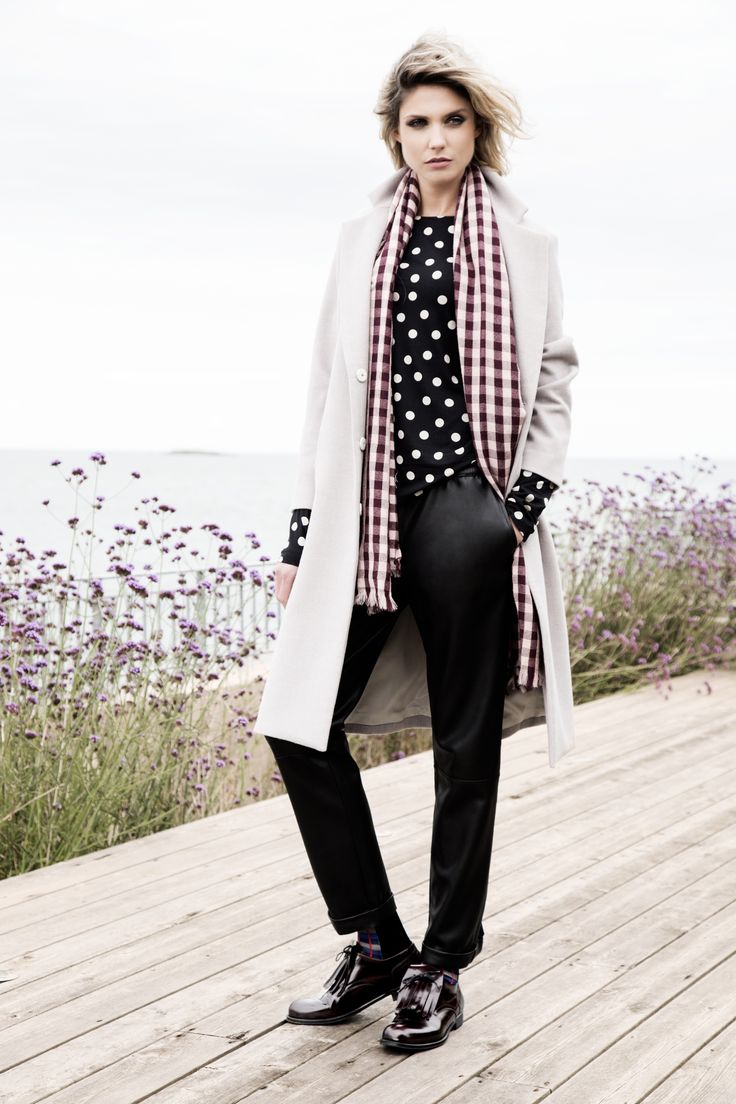 Spotty top, PU pants and mannish crombie coat, all Carolyn Donnelly The Edit