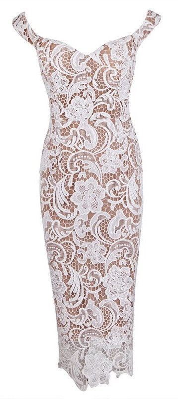 - Gorgeous & Flirty - High Quality Rayon Bandage with Lace - Curve-Hugging - Zippered Back