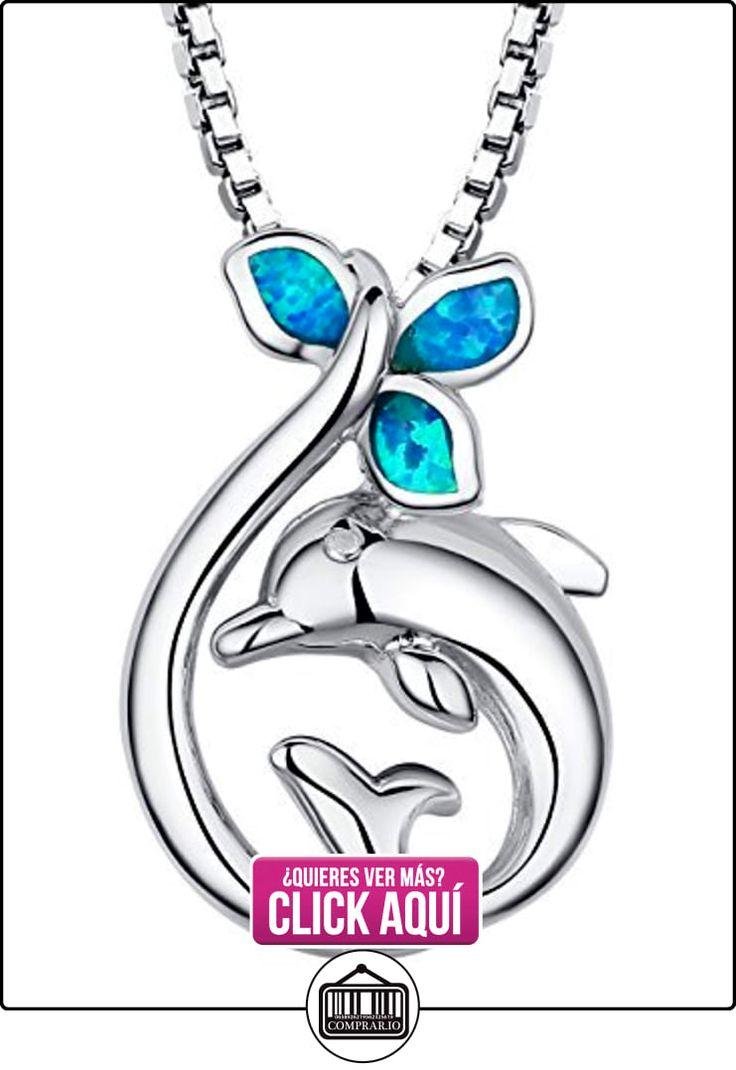 Arco Iris Jewelry Colgante de collar de la mujer de plata de ley con azul y verde ópalo de fuego y circonio cúbico, delfín, cadena de veneciana, 46cm  ✿ Joyas para mujer - Las mejores ofertas ✿ ▬► Ver oferta: http://comprar.io/goto/B00GTJTLYC