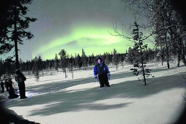 Lisa Scott waded up to her knees in snow to get a glimpse of the Northern Lights (Picture: supplied)