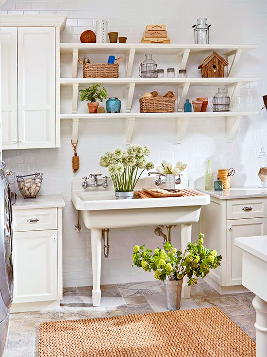 Open shelving and vintage details give this laundry room for Open shelving laundry room