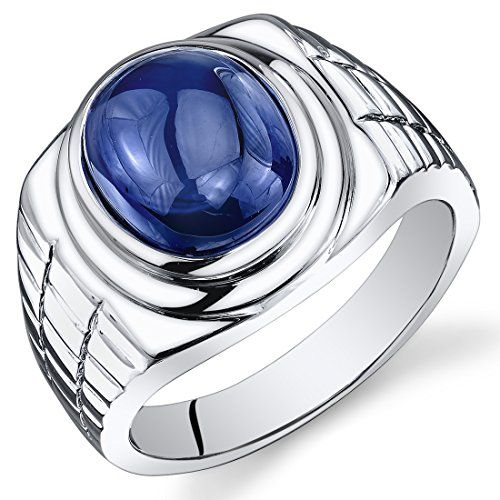 Revoni Mens 8.00 Carats Oval Cabochon Blue Sapphire Ring In Sterling Silver With Rhodium Finish Size T,