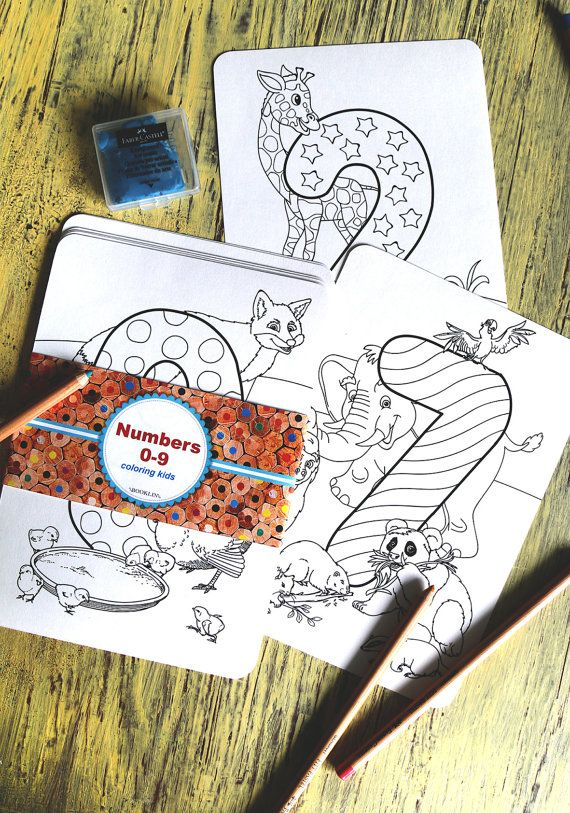 COLORING PAGE for kids  Numbers 0-9 от Boooklin на Etsy
