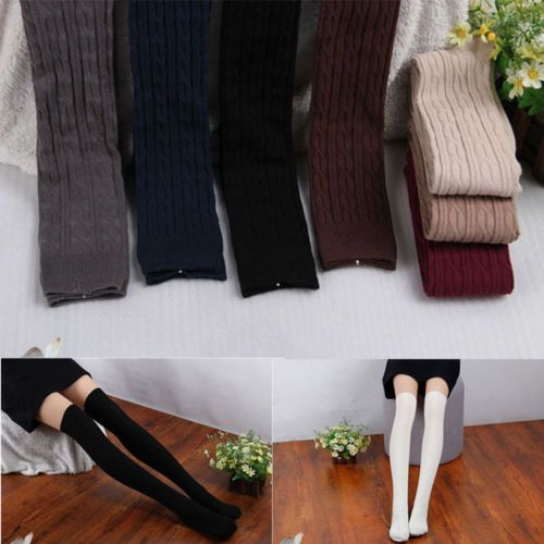 Fashion-Women-Knit-Cotton-Over-Knee-Thigh-Stockings-Pantyhose-Tights-High-Socks