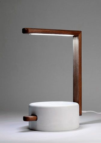 Bonaguro Giorgio - Easy    Easy table lamp in wood and a composite of marble powder and resin by Bonaguro Giorgio, 39-339-3490302; bonagurogiorgio.com.