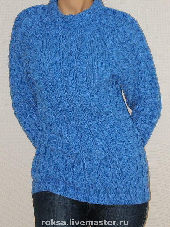 """Пуловер вязаный """"Морской бриз"""" - пуловер с косами,вязаный пуловер,пуловер спицами"""