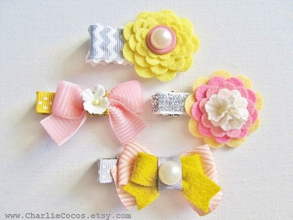 Baby/Girls Wool Felt Flower Hair Clip Lemon Yellow by CharlieCocos, $4.95