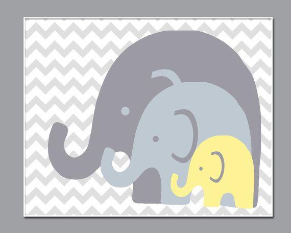 Elephant Nursery Art Print, Suits Yellow and Grey Nursery Decor, Baby Boy or Girl Nursery Wall Decor Print - Custom Color - N201- Unframed  This