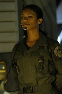 Officer Anastasia Dualla played by Kandyse McClure  kandyse mcclure. Canadian actress. a choice for reboot Uhura's sister, or mother - in a flashback to her earlier life