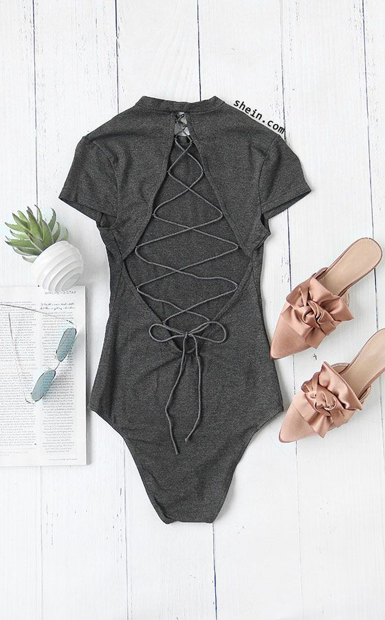 Heather Grey Cutout Lace Up Back Bodysuit