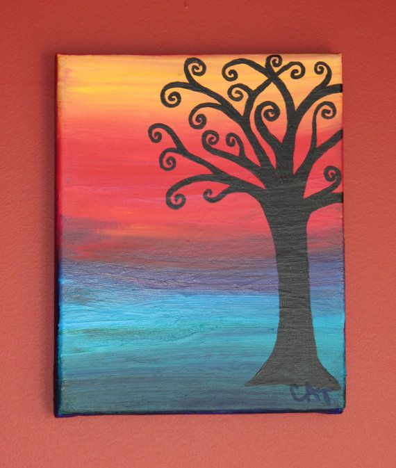 Easy Going Tree Original Acrylic Painting on Canvas  By by CTylor