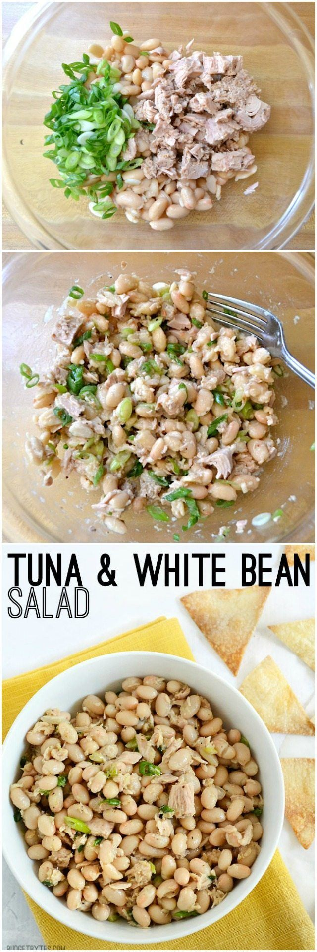 Tuna & White Bean Salad - BudgetBytes.com Add a dash of liquid smoke, a scoop of plain Greek yogurt, server on a bed of spicy greens or arugula.  use great northern beans if you have them, and Trader Joe's yellowfin tuna in olive oil, with most of the oil drained off, if you have it.