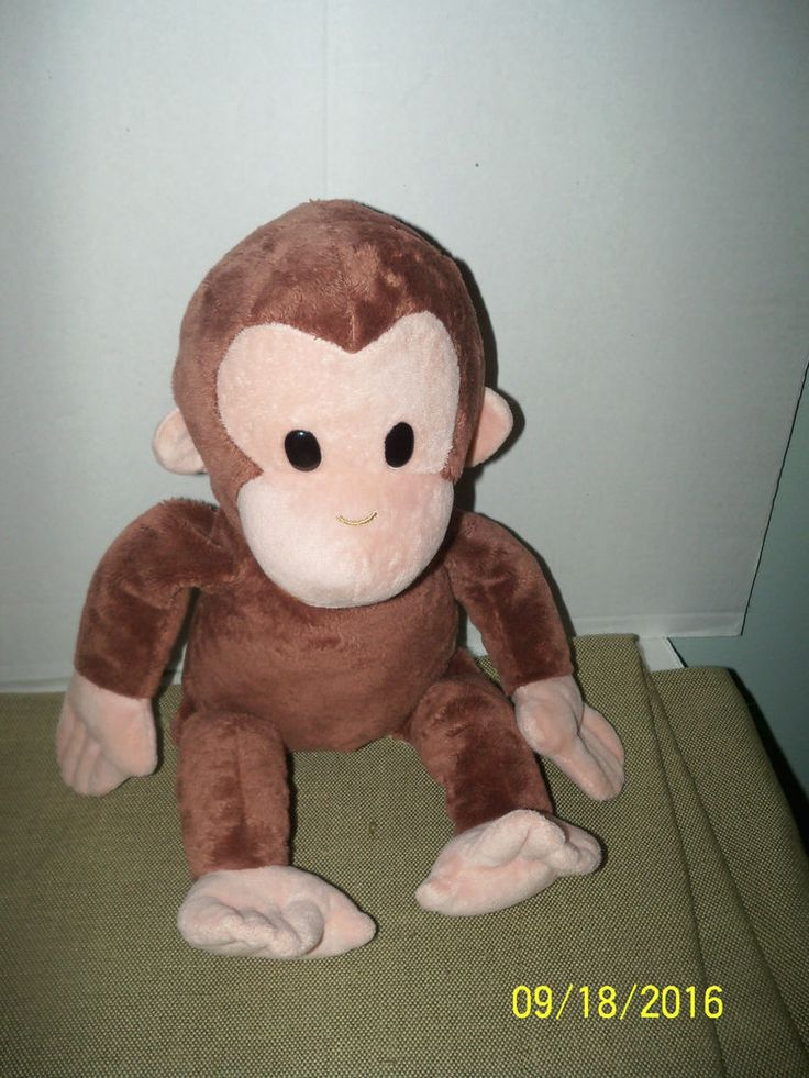 "applause russ plush monkey curious george stuffed animal 16"" tall"