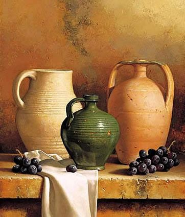 Earthenware with Grapes by Loran Speck