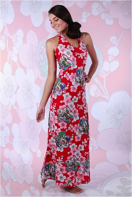 Spring into spring with our stunning Red Oriental Maxi dress