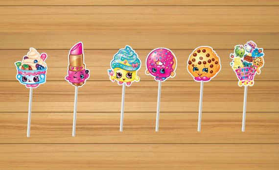 Shopkins party cupcake toppers  set of 24 by BirthdayPartyBox