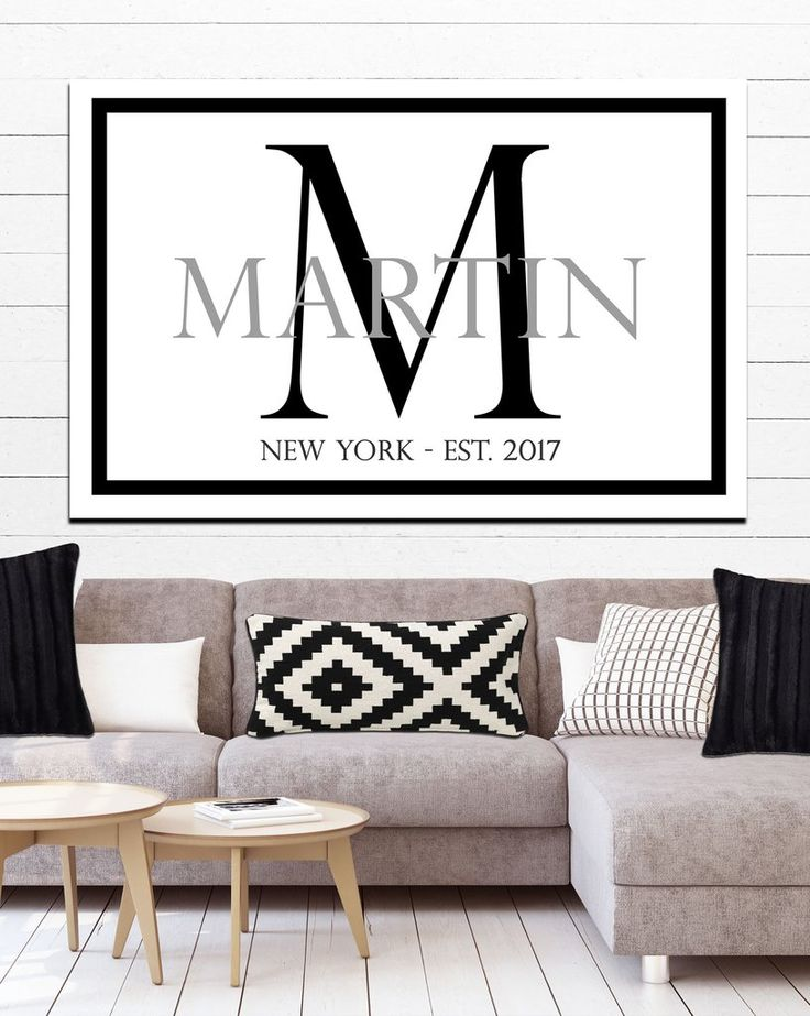 Modern Last Name Family Sign - Personalized Wall Art - Simple Name Sign for Living Room