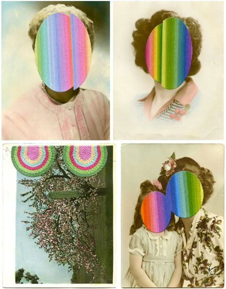 people with rainbow-hued embroidery on their faces, and vintage photos that have been snipped to bits and put back together into amazing kaleidoscope-ish configurations. London based artist Julie Cockburn,