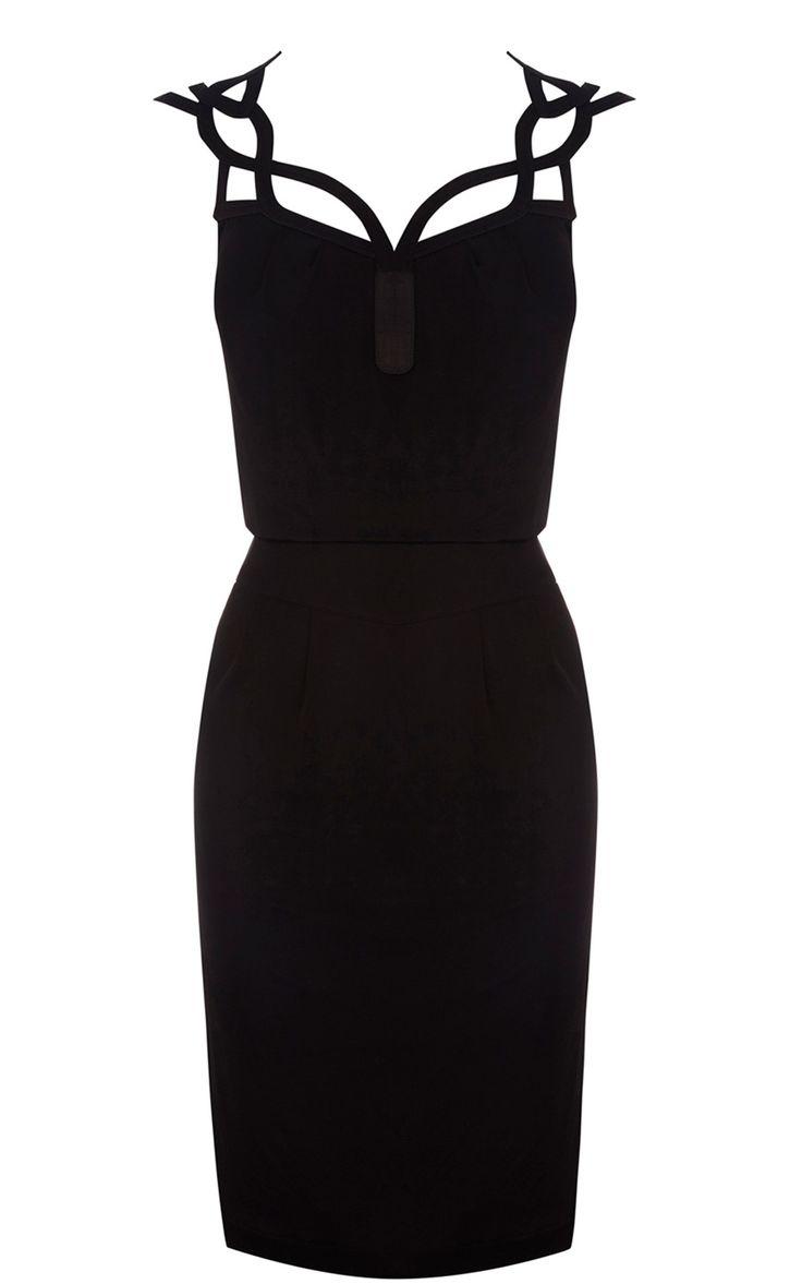 Karen Millen Graphic cutwork Dress Black ,fashion  Karen Millen Solid Color Dresses outlet