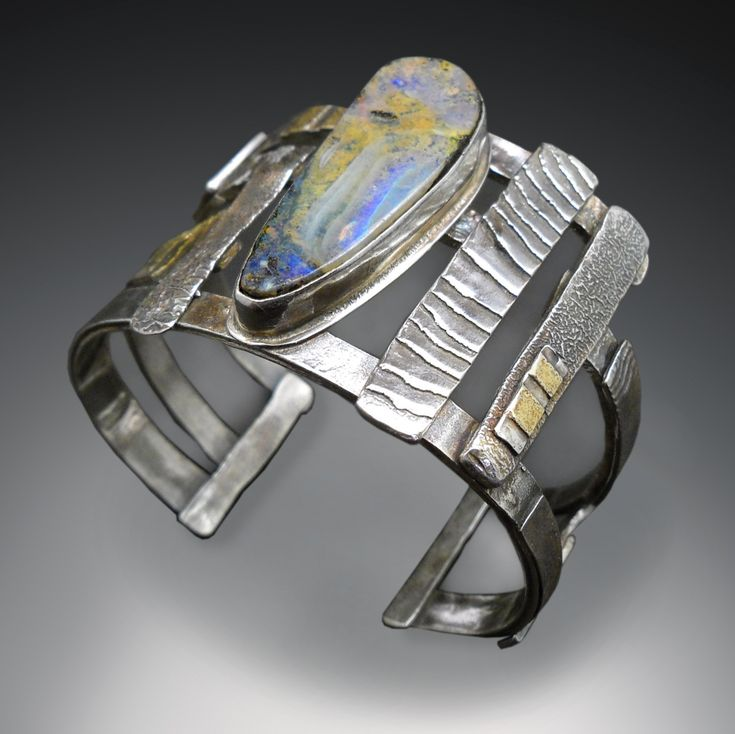 "Contemporary Jewelry - ""Boulder opal cuff"" (Original Art from Patricia McCleery)"